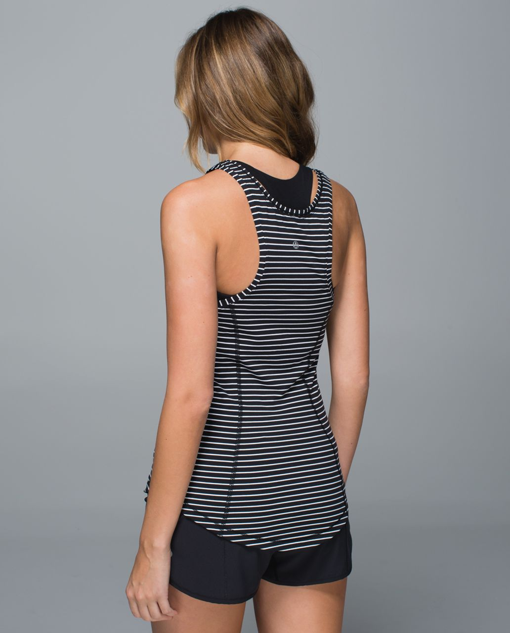Lululemon Think Fast Tank - Parallel Stripe Black White