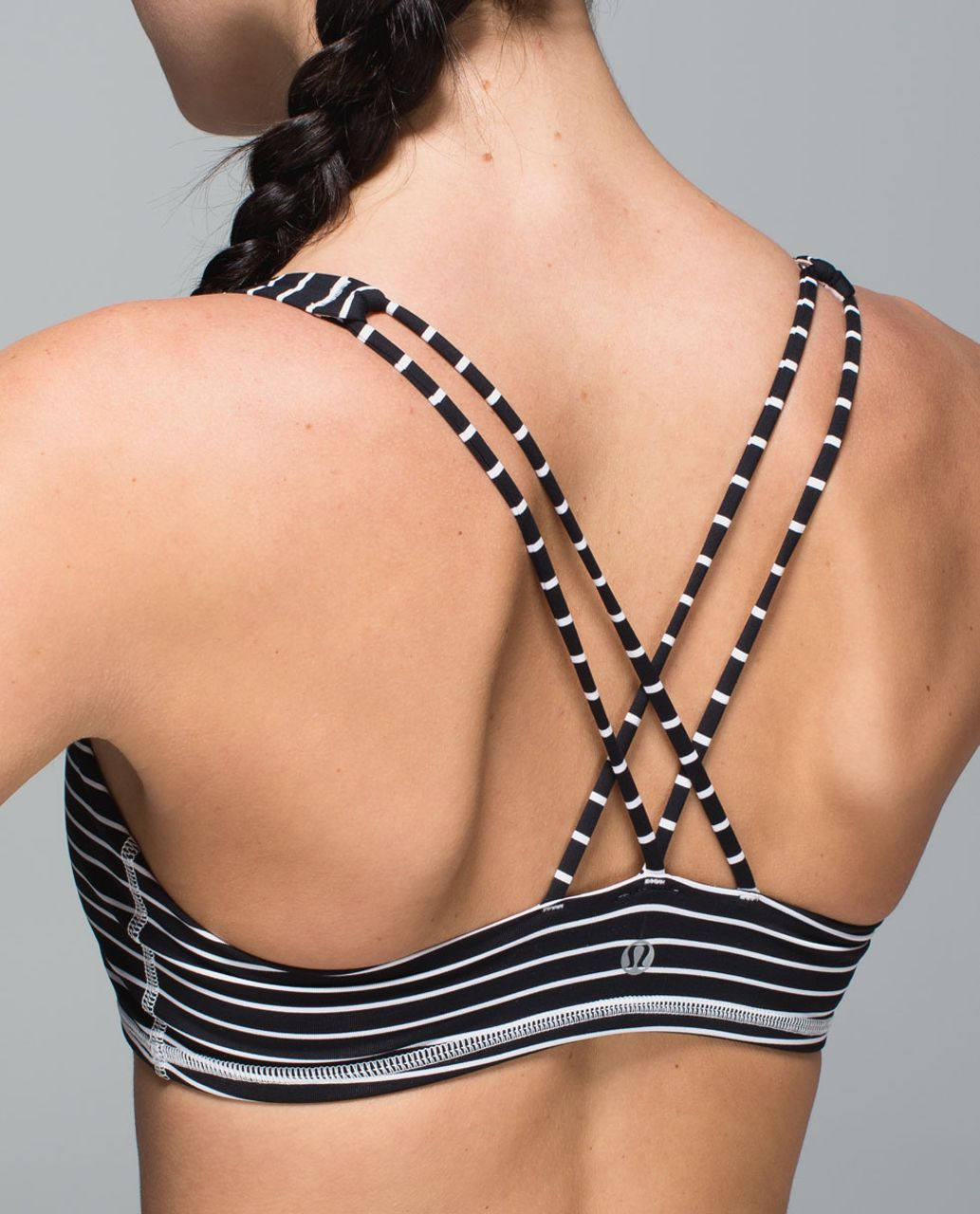 Lululemon Free To Be Bra - Parallel Stripe Black White / Silver Spoon