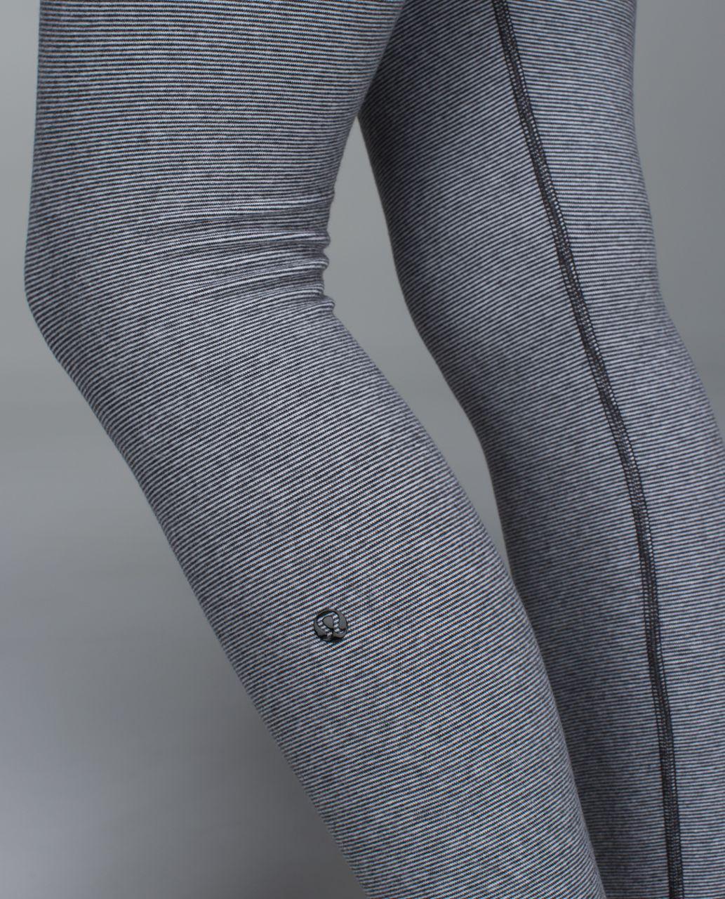 Lululemon Wunder Under Pant *Cotton (Roll Down) - Wee Stripe Heathered Black White