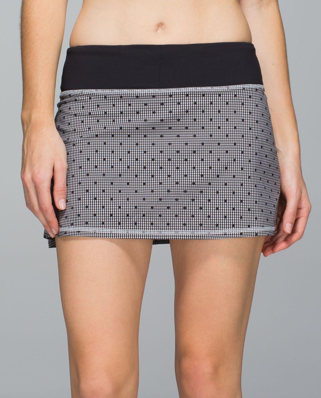 Lululemon Run:  Pace Setter Skirt *2-way Stretch (Regular) - Dottie Eighth Gingham White Black / Black