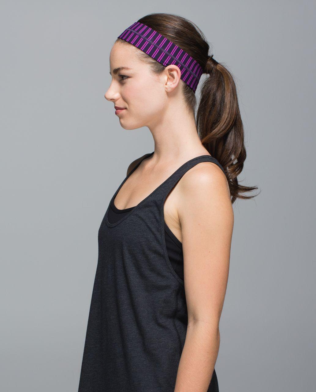 Lululemon Fly Away Tamer Headband - Double Trouble Stripe Ultra Violet Black Grape