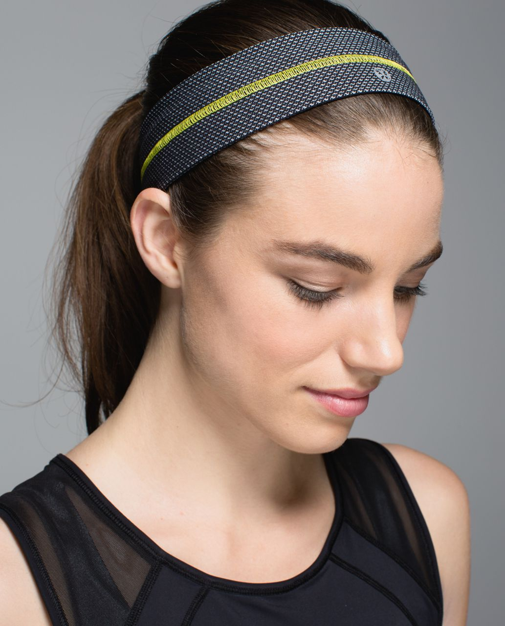Lululemon Fly Away Tamer Headband - Cross Stitch Black White