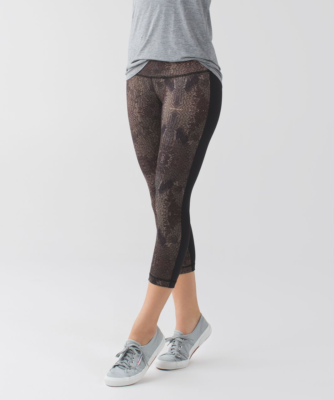 Lululemon Wunder Under Crop II *Full-On Luon - Golden Godess Cashew Multi / Black