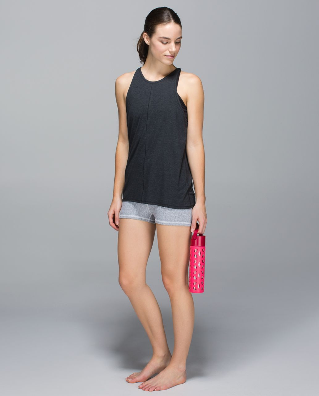 Lululemon Boogie Short (Roll Down) *Full-On Luon - Heathered Herringbone Heathered Black White