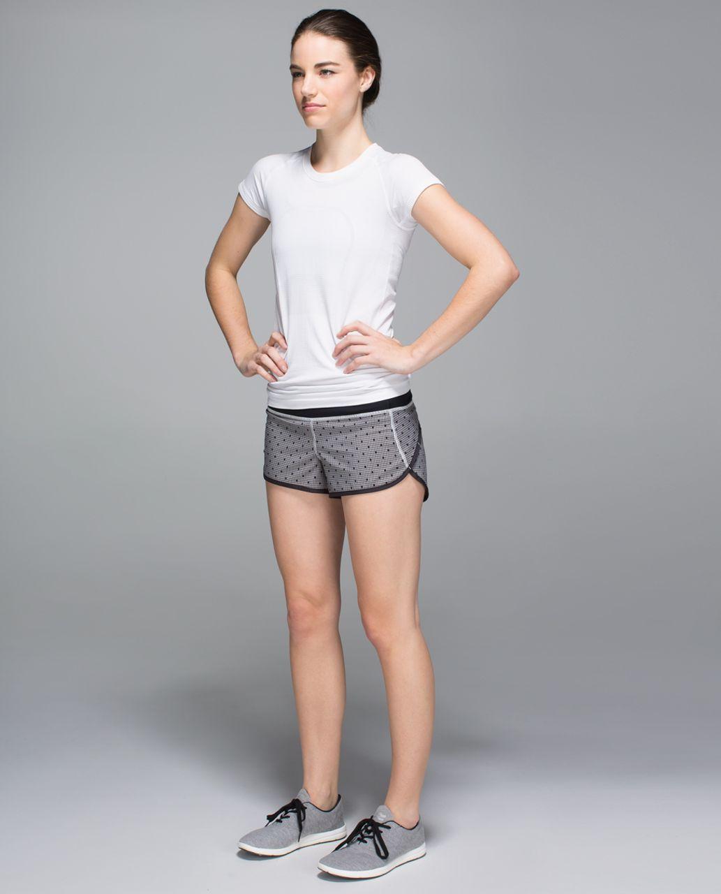 Lululemon Run:  Speed Short *2-way Stretch - Dottie Eighth Gingham White Black / Black