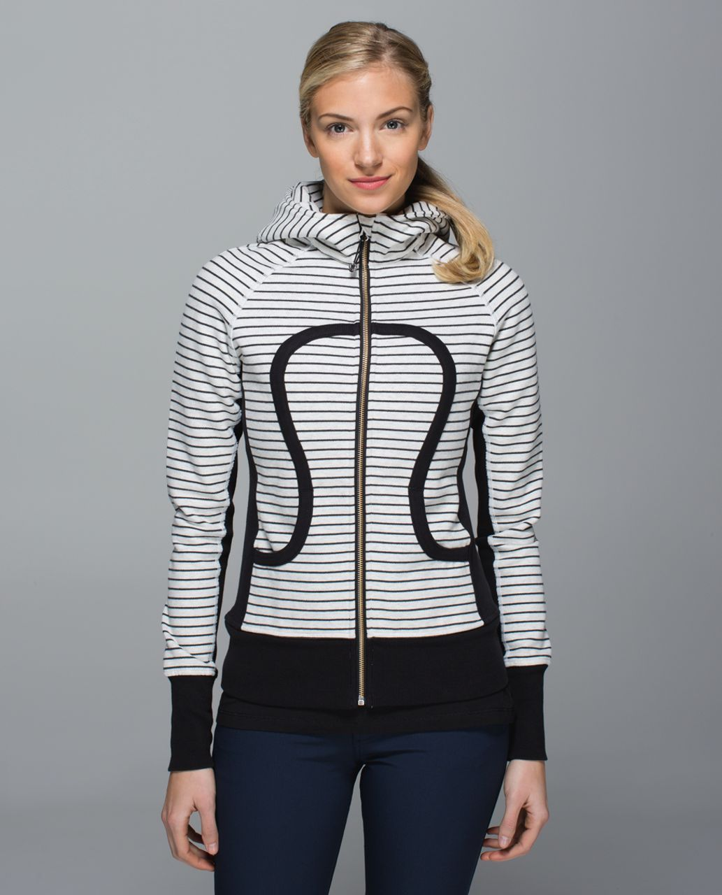 Lululemon Scuba Hoodie II - Parallel Stripe Heathered White Heathered Black / White / Black