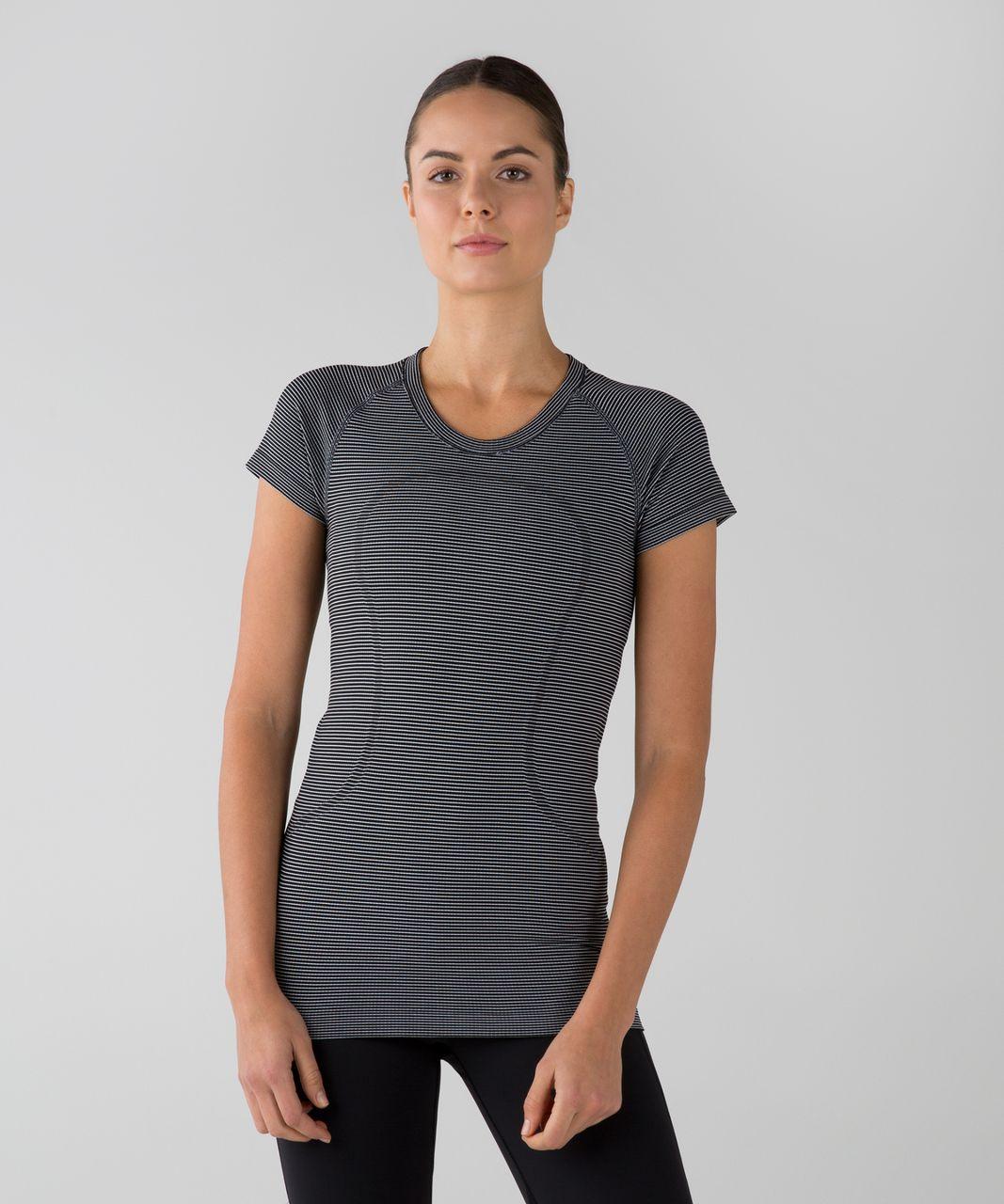 Lululemon Run:  Swiftly Tech Short Sleeve Crew - Tempo Stripe Black White