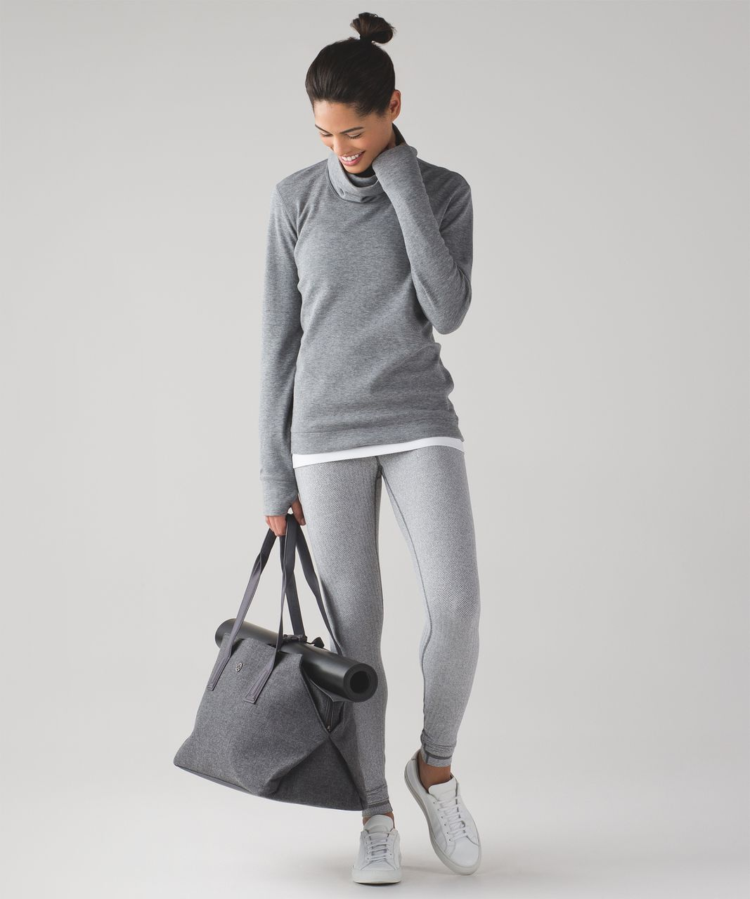 Lululemon Wunder Under Pant - Heathered Herringbone Heathered Black White / Black