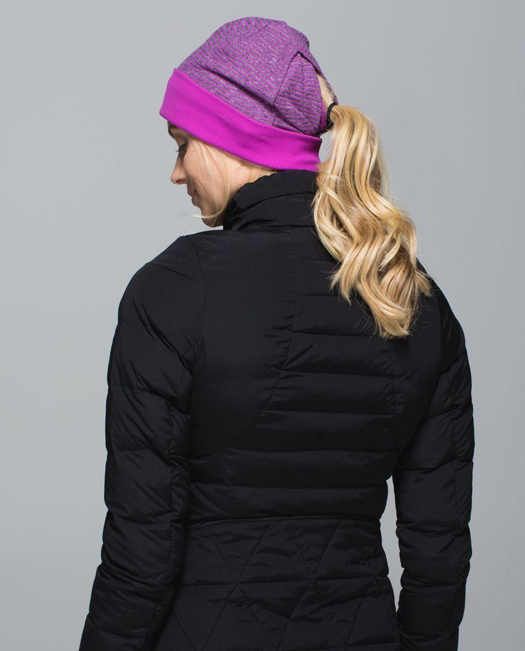 Lululemon Run With Me Toque - Mini Check Pique Ultra Violet Heathered Black / Ultra Violet