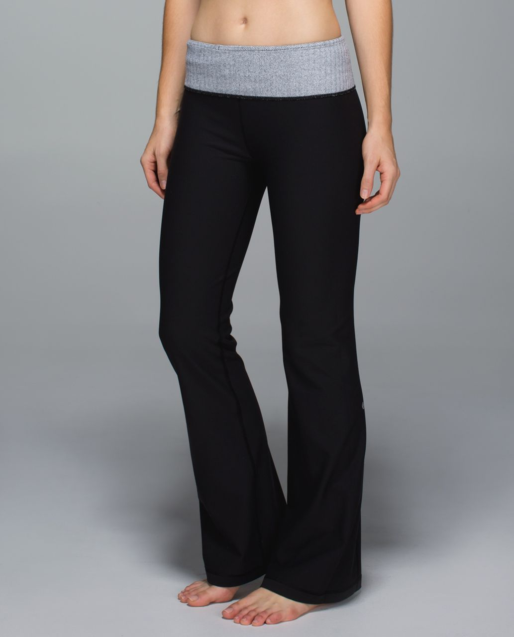 Lululemon Groove Pant *Full-On Luon (Regular) - Black / Heathered Herringbone Black Heathered Black / White