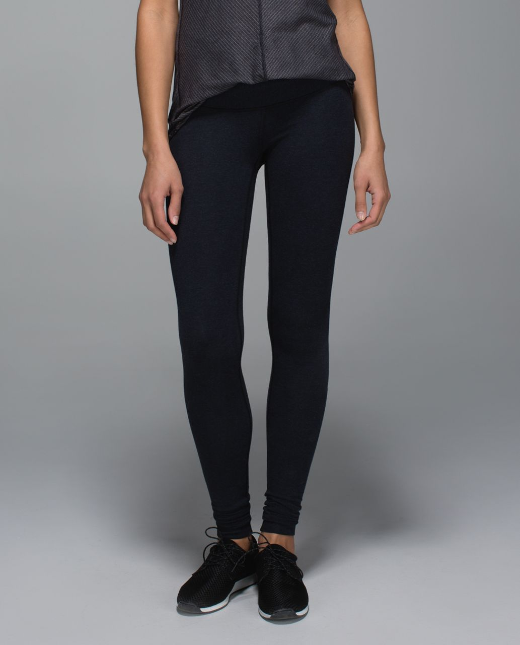 Lululemon Wunder Under Pant *Cotton (Roll Down) - Wee Stripe Black Heathered Inkwell