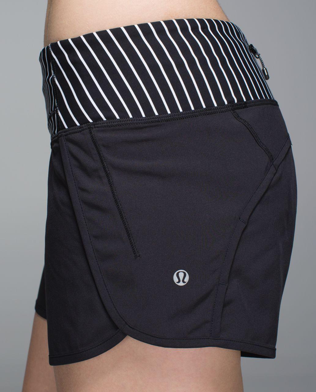 Lululemon Run Times Short *4-way Stretch - Black / Parallel Stripe White Black