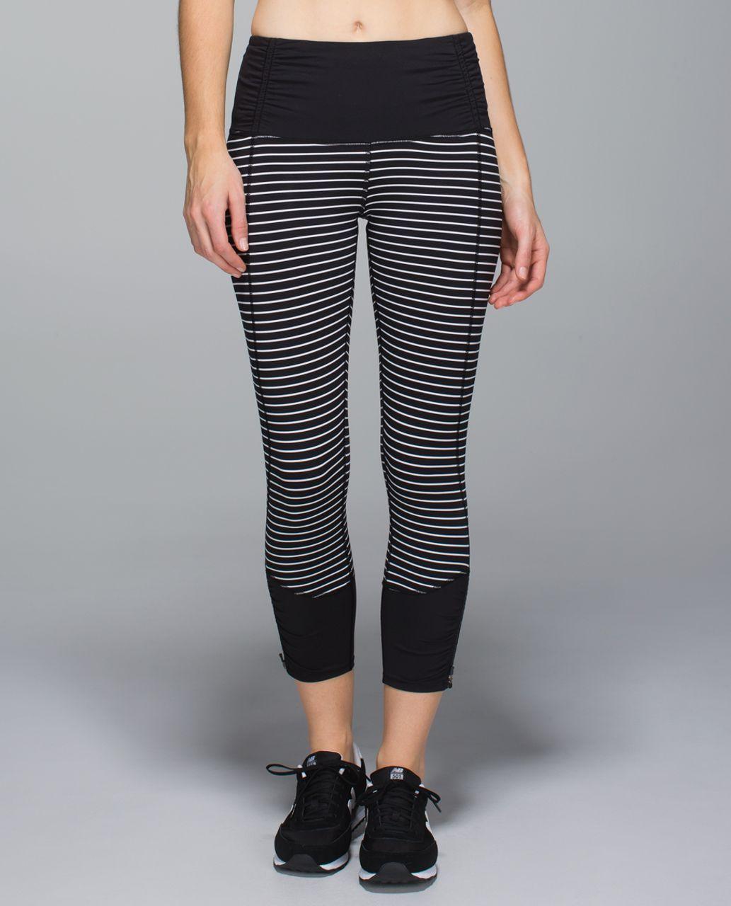 bdec793470 Lululemon Runday Crop - Parallel Stripe White Black / Black - lulu fanatics