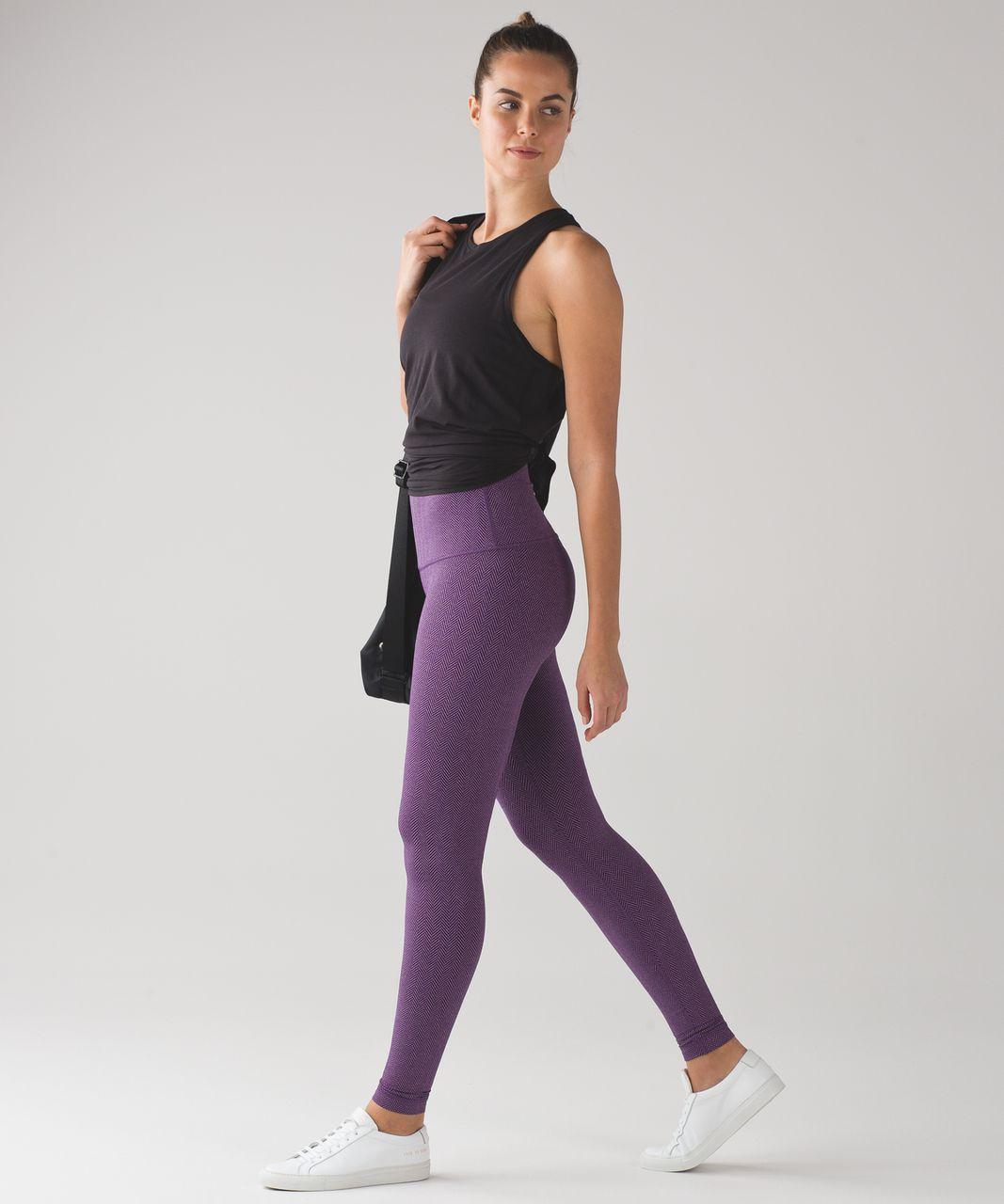 Lululemon Wunder Under Pant (Hi-Rise) (Luxtreme) - Giant Herringbone Black Grape Heathered Tender Violet