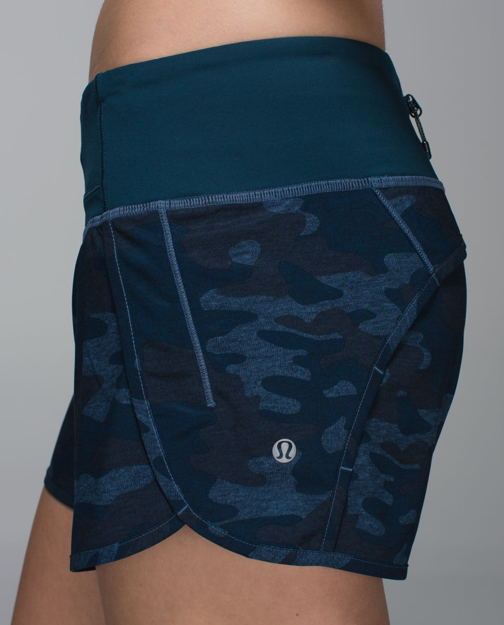 Lululemon Run Times Short *4-way Stretch - Heathered Texture Lotus Camo Oil Slick Blue / Alberta Lake