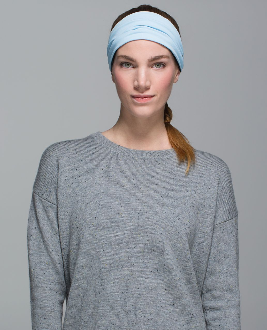Lululemon Bang Buster Headband *Reversible - Heathered Texture Lotus Camo Oil Slick Blue / Caspian Blue
