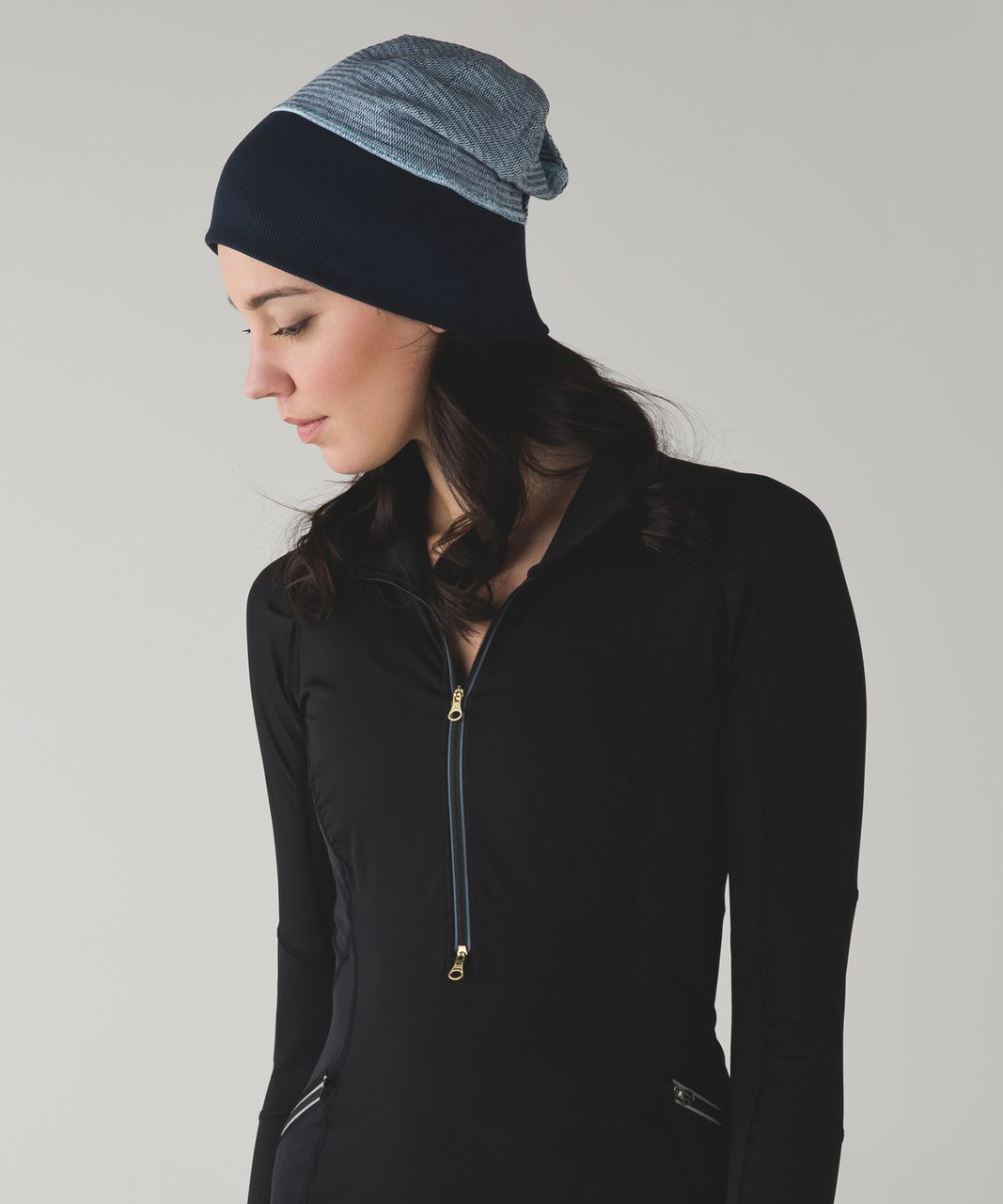 Lululemon Run With Me Toque - Mini Check Pique Caspian Blue Heathered Inkwell / Inkwell