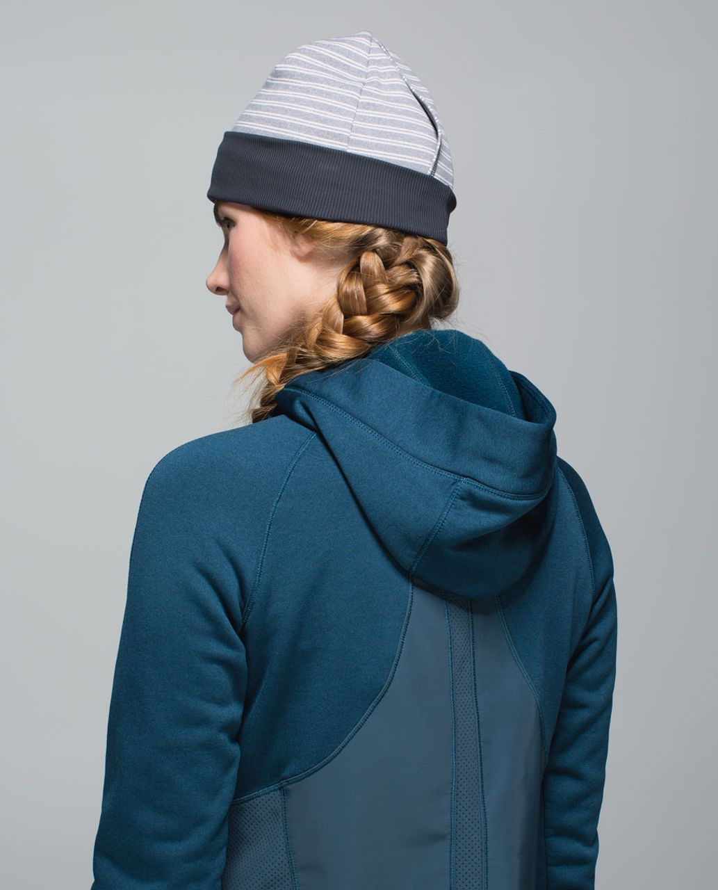 Lululemon Run With Me Toque - Double Trouble Stripe Neutral Blush Heathered Slate / Heathered Slate / Deep Coal