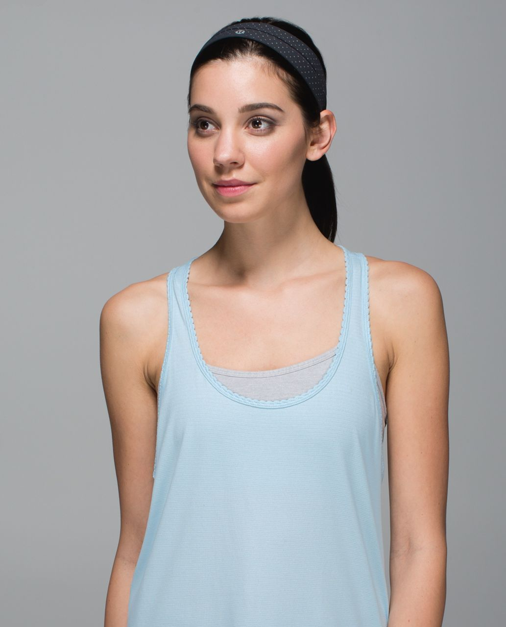 Lululemon Fly Away Tamer Headband - Teeny Dot Deep Coal Parfait Pink