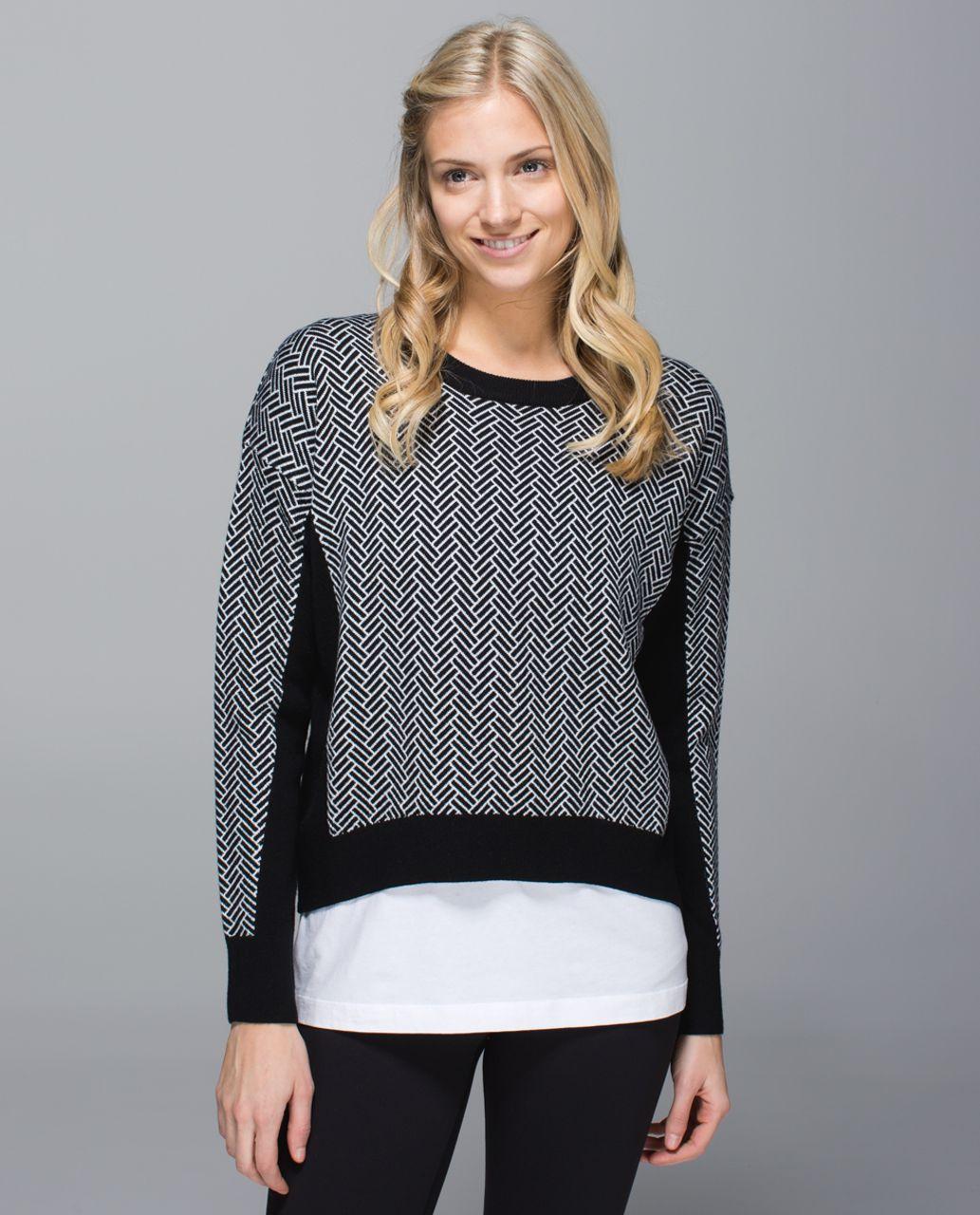 Lululemon Yogi Crew Sweater - Black / White - lulu fanatics