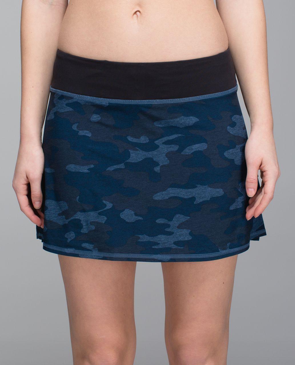 Lululemon Run:  Pace Setter Skirt *4-way Stretch (Tall) - Heathered Texture Lotus Camo Oil Slick Blue / Black