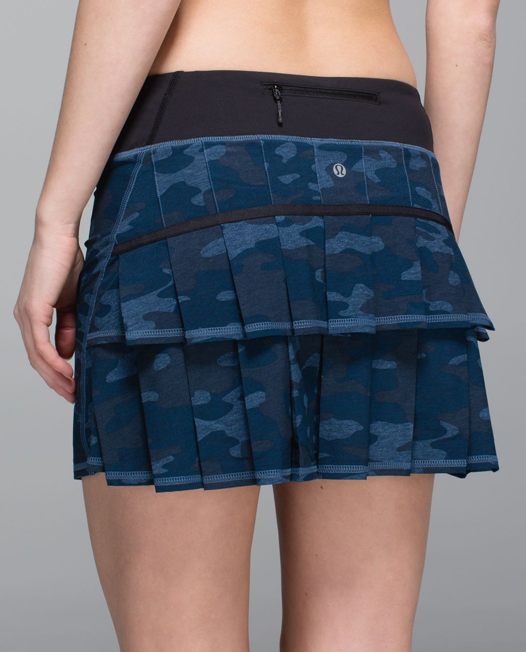 Lululemon Run:  Pace Setter Skirt *4-way Stretch (Tall) - Heathered Texture Lotus Camo Oil Slick Blue / Black