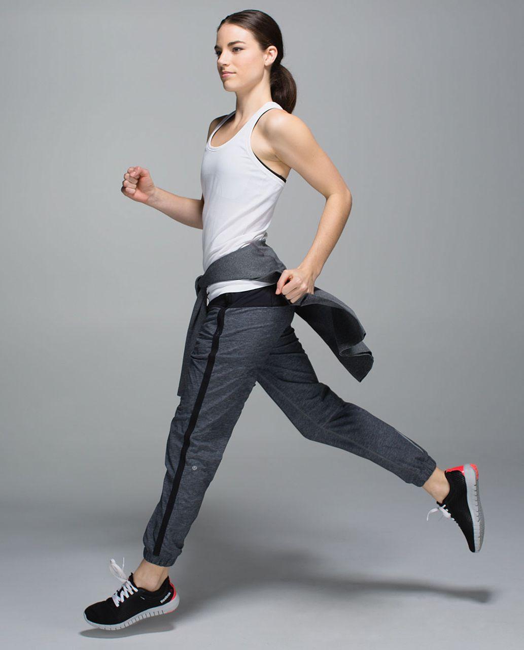 Lululemon Track To Reality Pant - Heathered Texture Printed Grey Deep Coal / Black