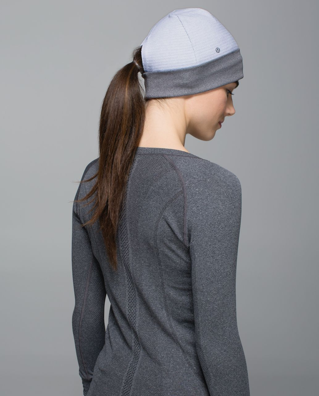 Lululemon Run With Me Toque - Mini Check Pique White Heathered Silver Fox