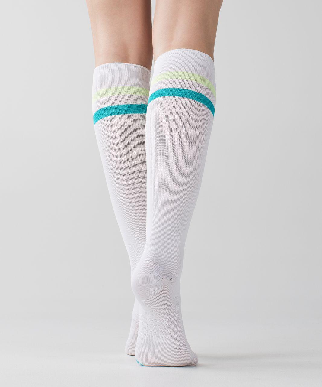 Lululemon Women's Keep It Tight Sock - Varsity Stripe White Clear Mint Blue Tropics