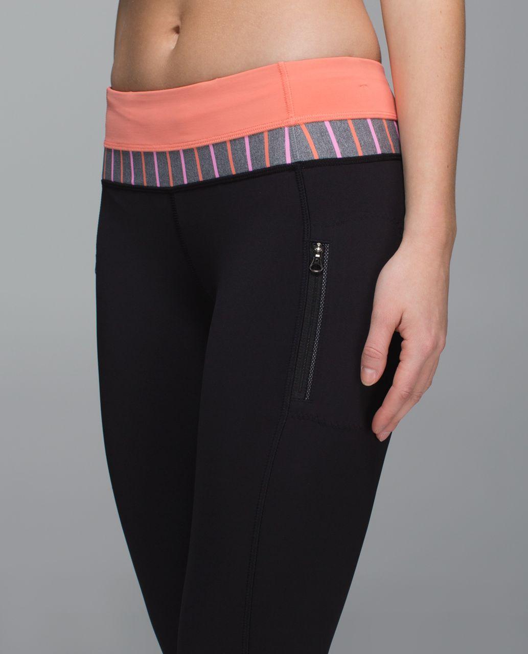 Lululemon Inspire Tight II (Mesh) - Black / Plum Peach / Quiet Stripe Heathered Slate Vintage Pink