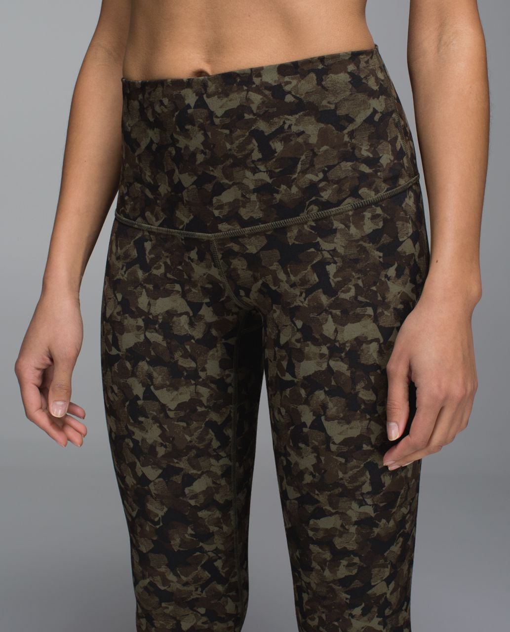 Lululemon Wunder Under Pant *Full-On Luon (Roll Down) - Mystic Jungle Fatigue Green Black