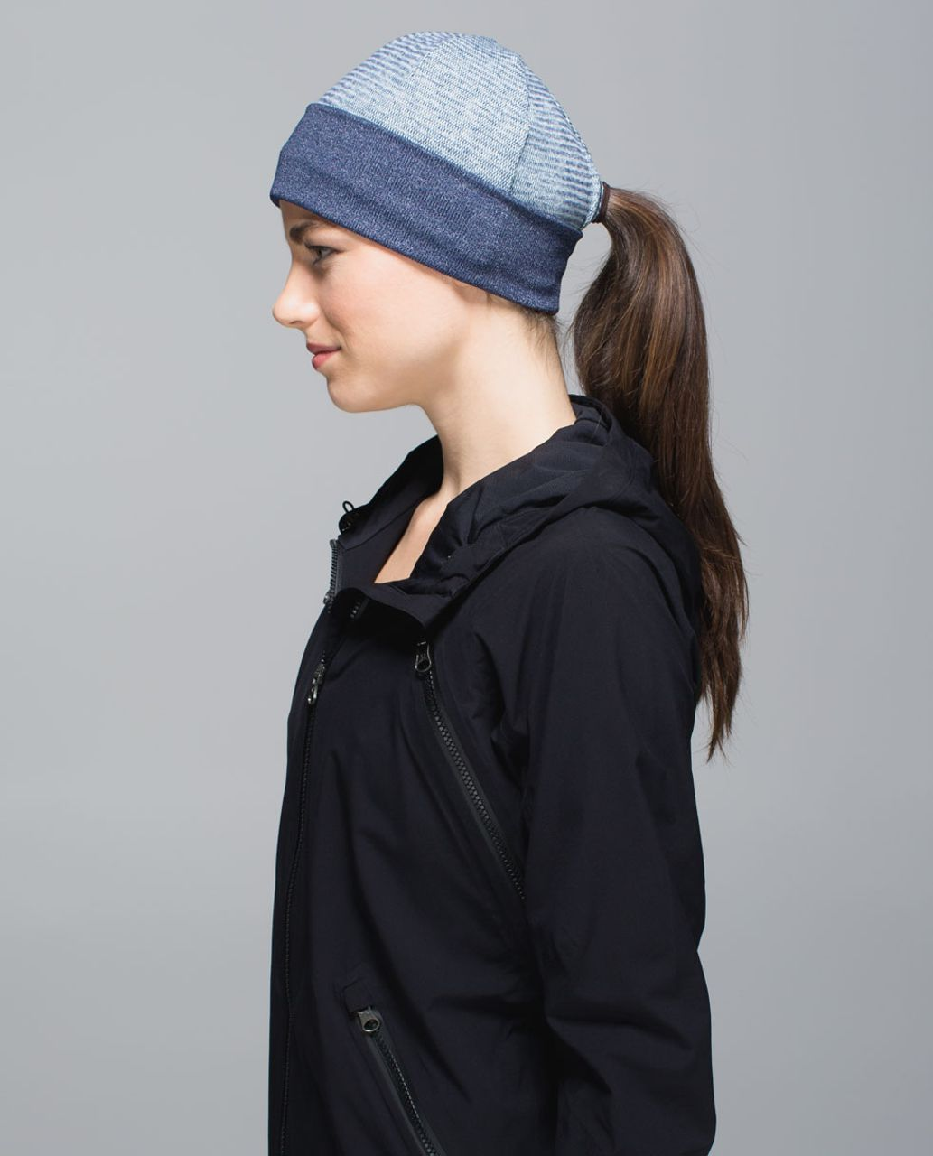 Lululemon Run With Me Toque - Mini Check Pique Sea Mist Heathered Deep Navy