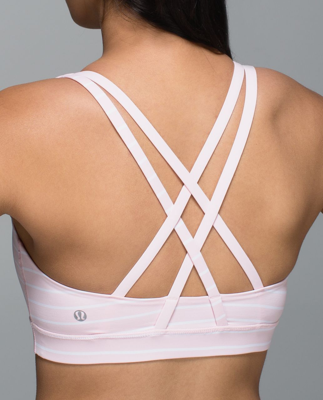 Lululemon Energy Bra - Quiet Stripe Strawberry Milkshake White / Strawberry Milkshake