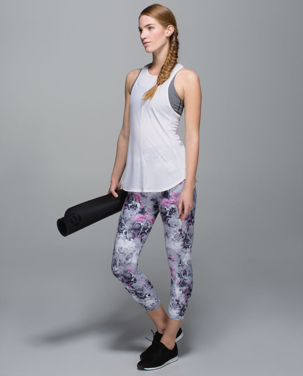 Lululemon Wunder Under Crop II *Full-On Luon (Roll Down) - Moody Mirage White Deep Navy