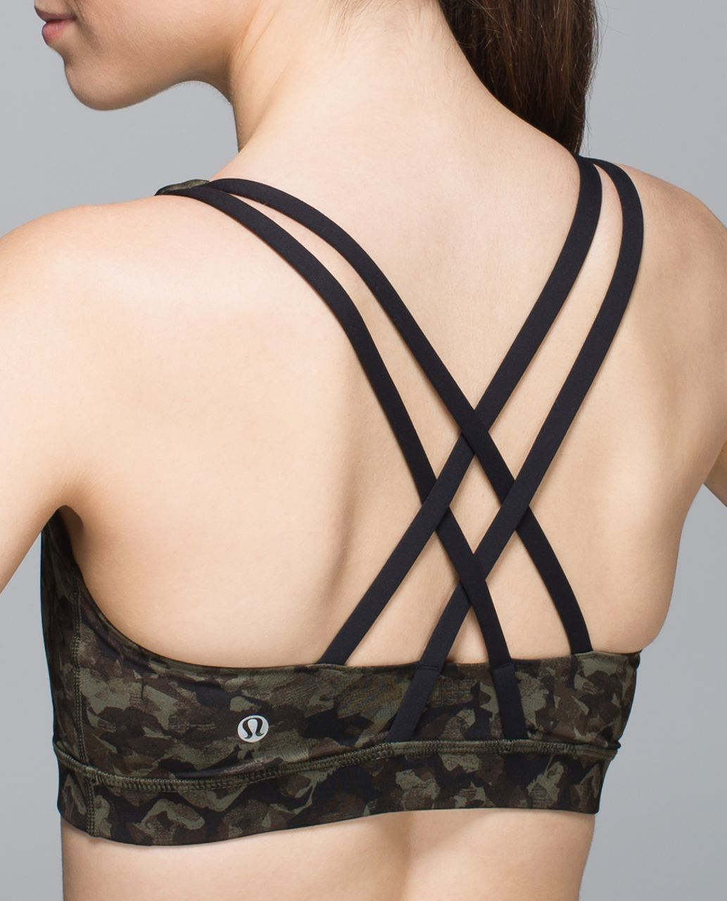 Lululemon Energy Bra - Mystic Jungle Fatigue Green Black / Black