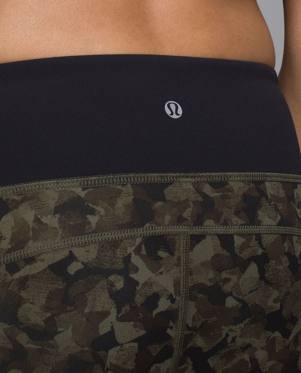 Lululemon Run:  Top Speed Crop *Full-On Luxtreme - Mystic Jungle Fatigue Green Black / Black