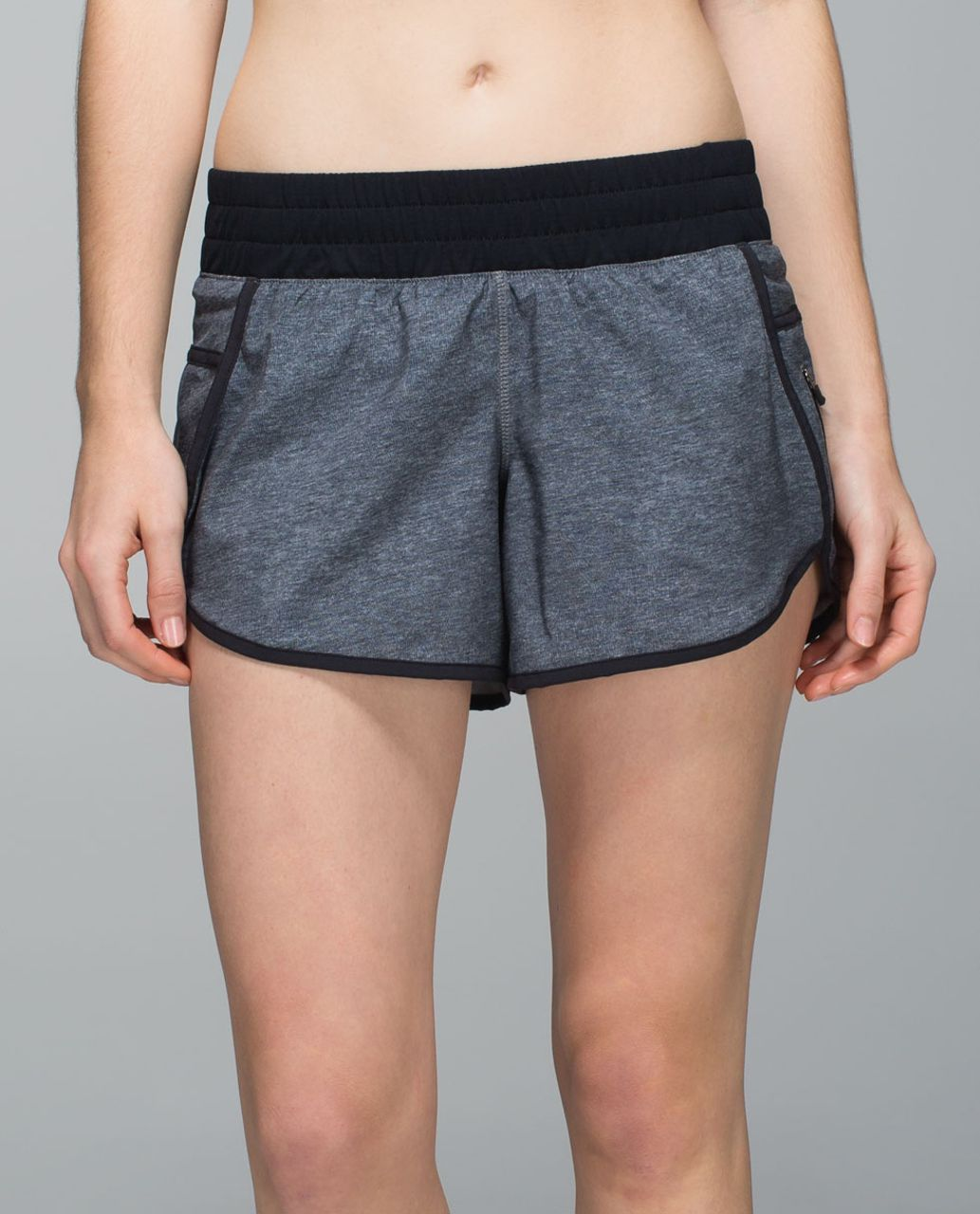Lululemon Tracker Short III *4-way Stretch - Heathered Texture Printed Grey Deep Coal / Black