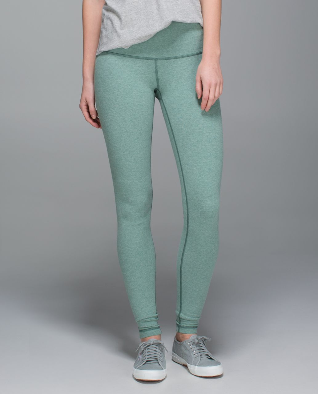 Lululemon Wunder Under Pant *Cotton (Roll Down) - Heathered Earl Grey / Earl Grey