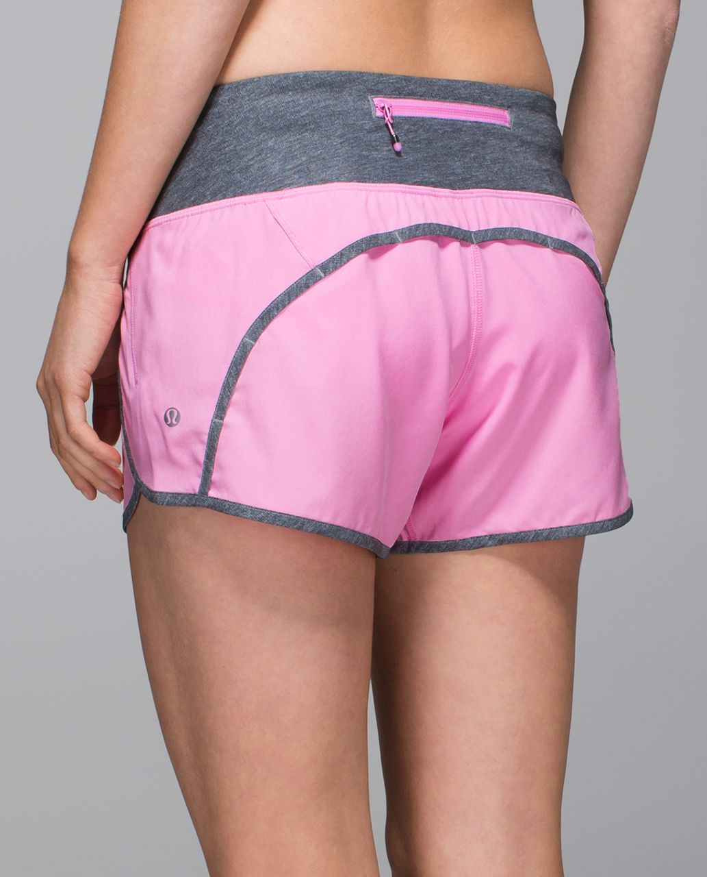 "Lululemon Run Times Short *4-way Stretch 4"" - Vintage Pink / Heathered Texture Printed Greyt Deep Coal"