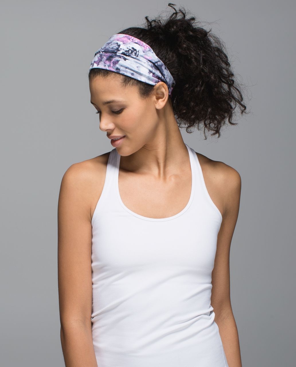 Lululemon Fringe Fighter Headband - Moody Mirage White Deep Navy / Heathered Black Cherry