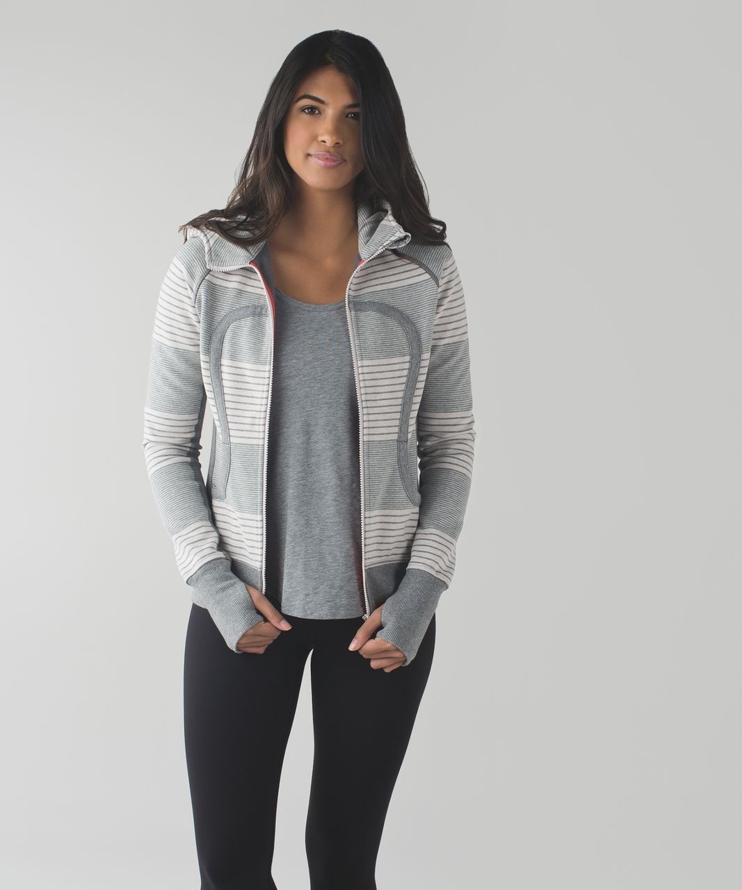Lululemon Scuba Hoodie II - Double Vision Stripe Heathered Medium Grey Heathered Dune / Slate