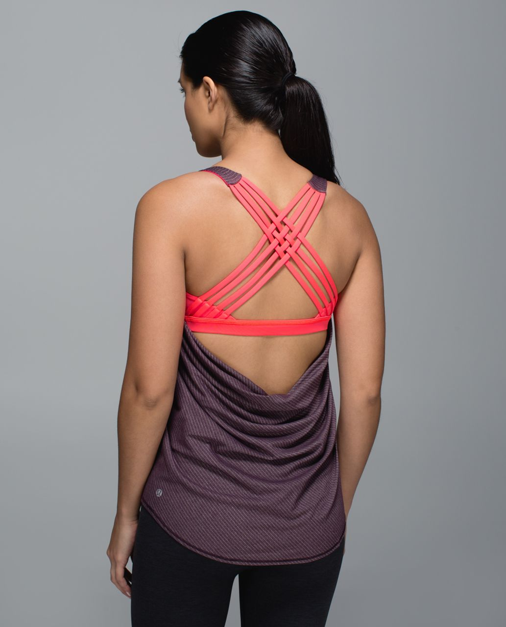 Lululemon Wild Tank - Heathered Black Cherry / Electric Coral