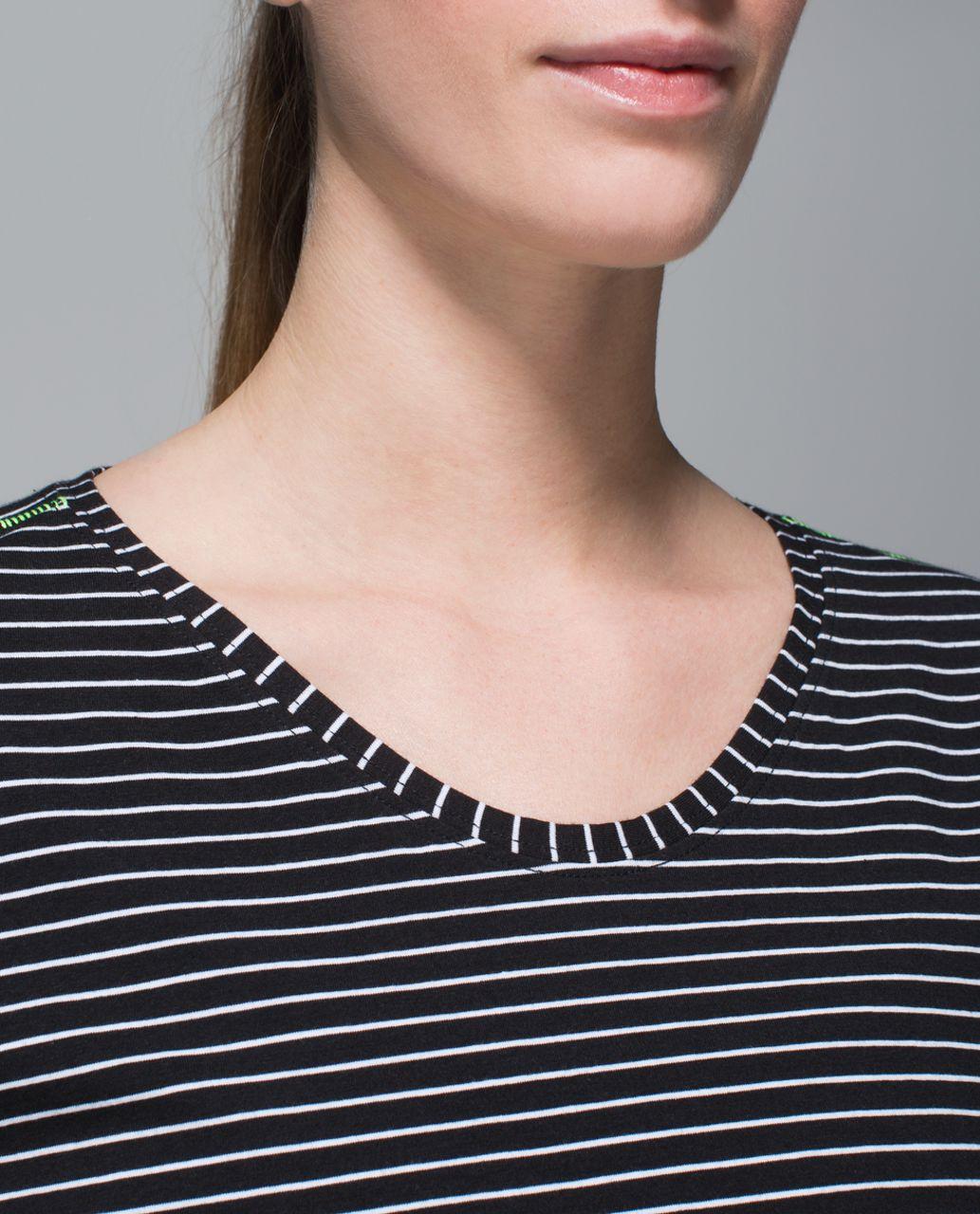 Lululemon Weekend Short Sleeve - Parallel Stripe Black White