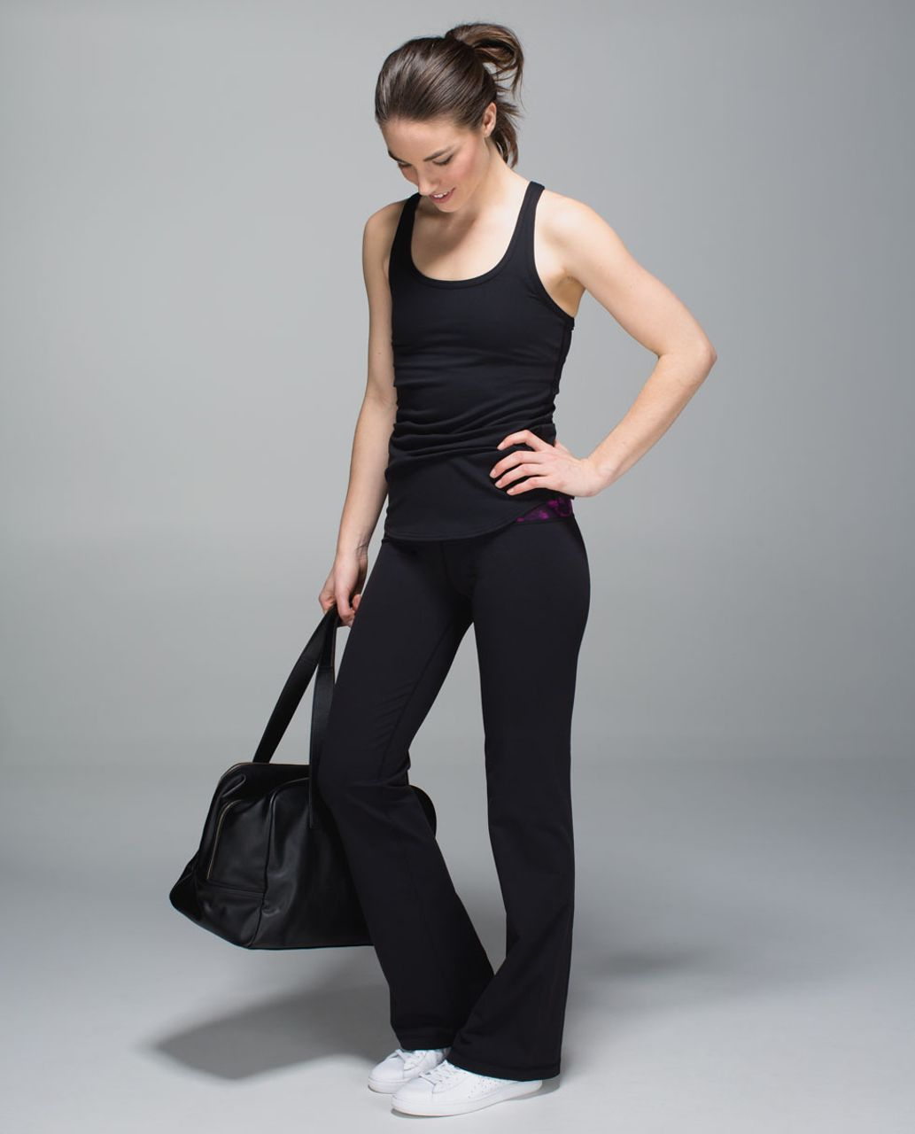 Lululemon Groove Pant II *Full-On Luon (Roll Down - Tall) - Black / Breezie Regal Plum Black