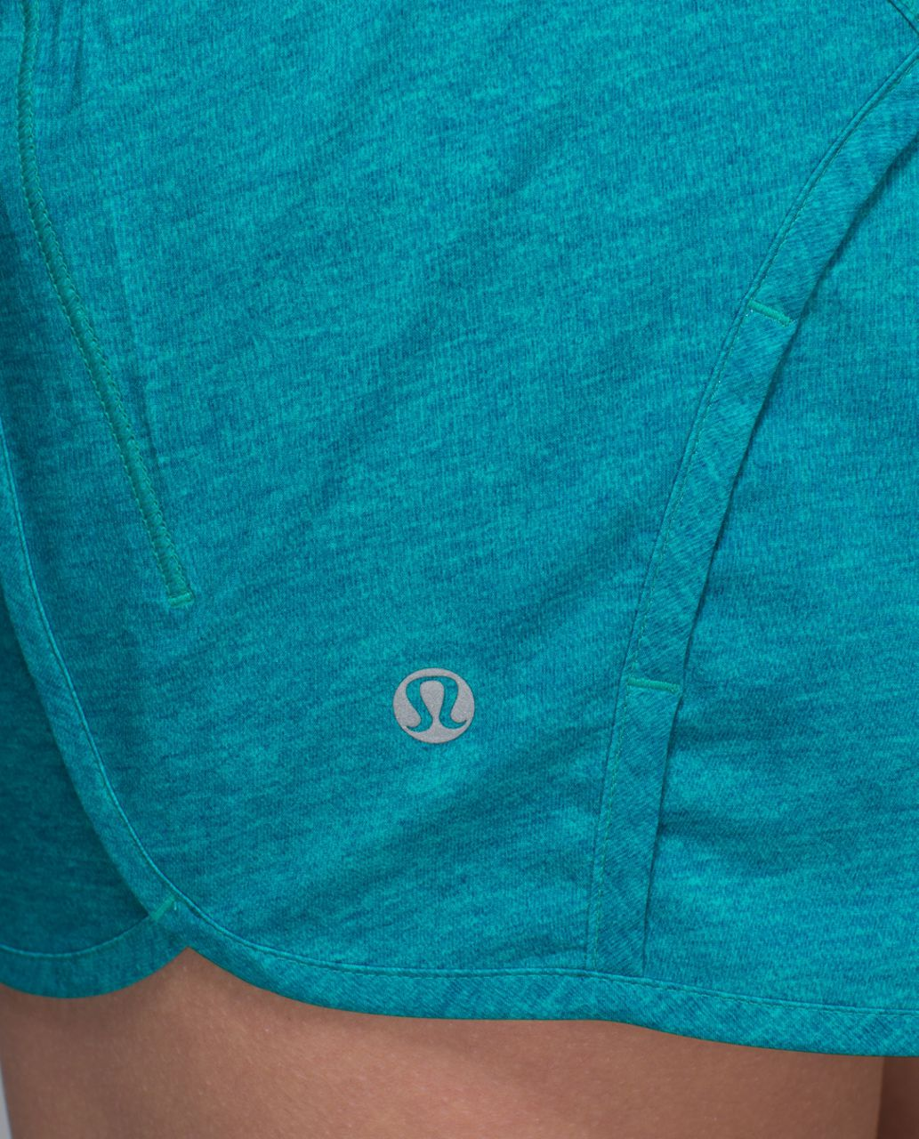 "Lululemon Run Times Short *4-way Stretch 4"" - Heathered Texture Printed Sea Mist Blue Tropics / Blue Tropics"