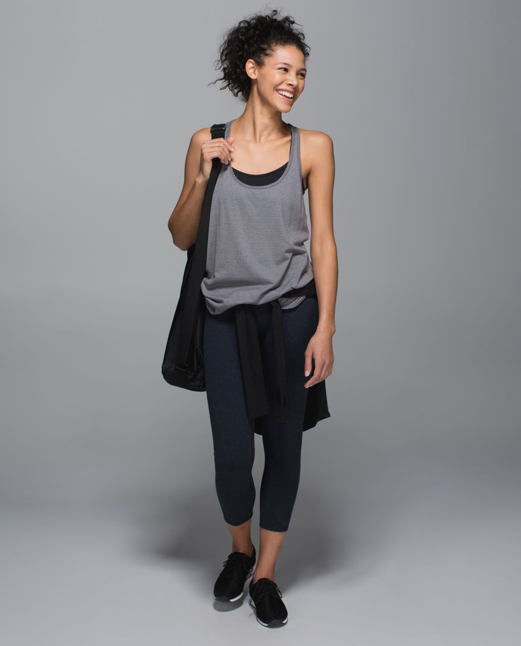 Lululemon Wunder Under Crop *Cotton (Roll Down) - Heathered Naval Blue