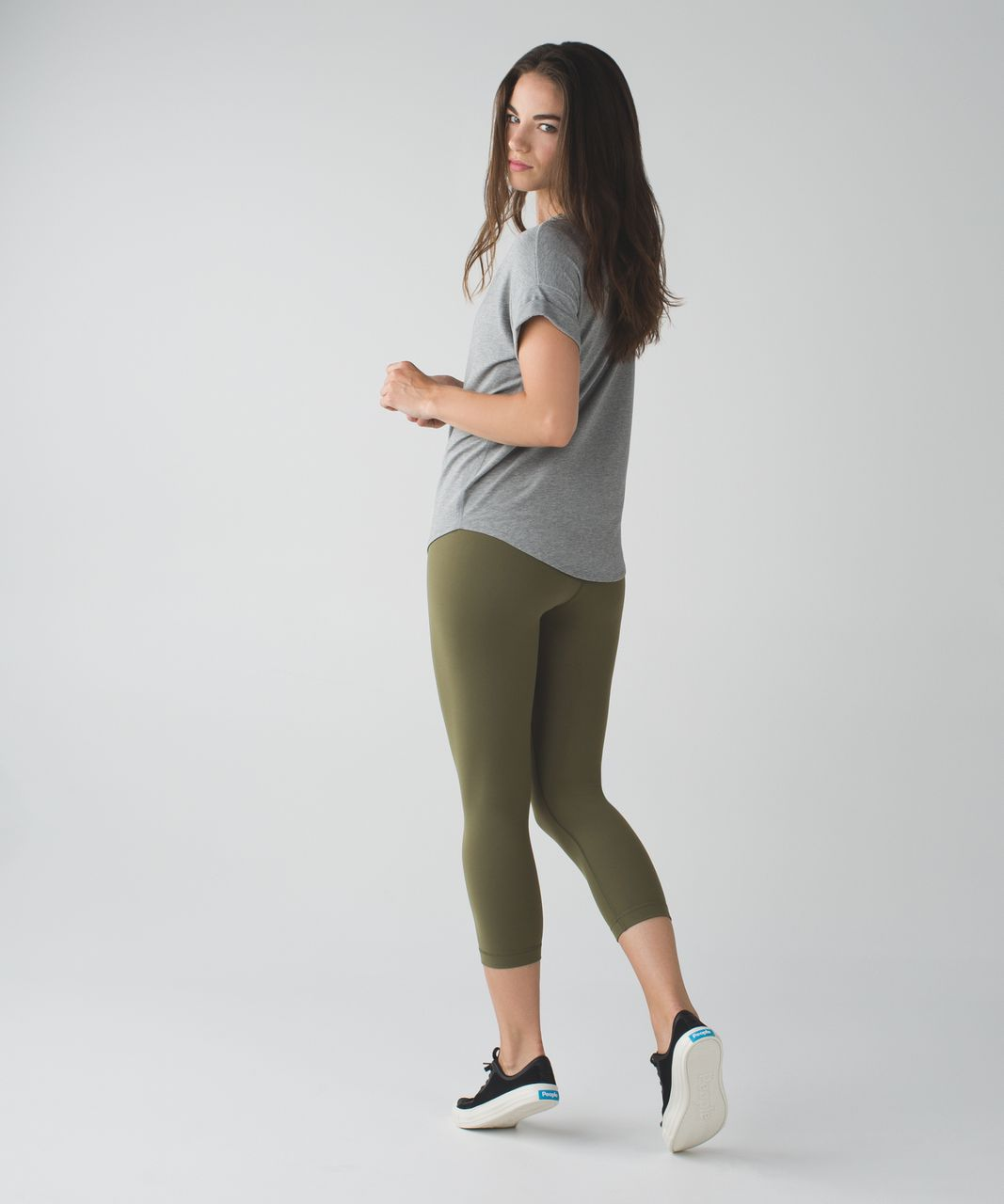 Lululemon Wunder Under Crop II *Full-On Luon (Roll Down) - Fatigue Green