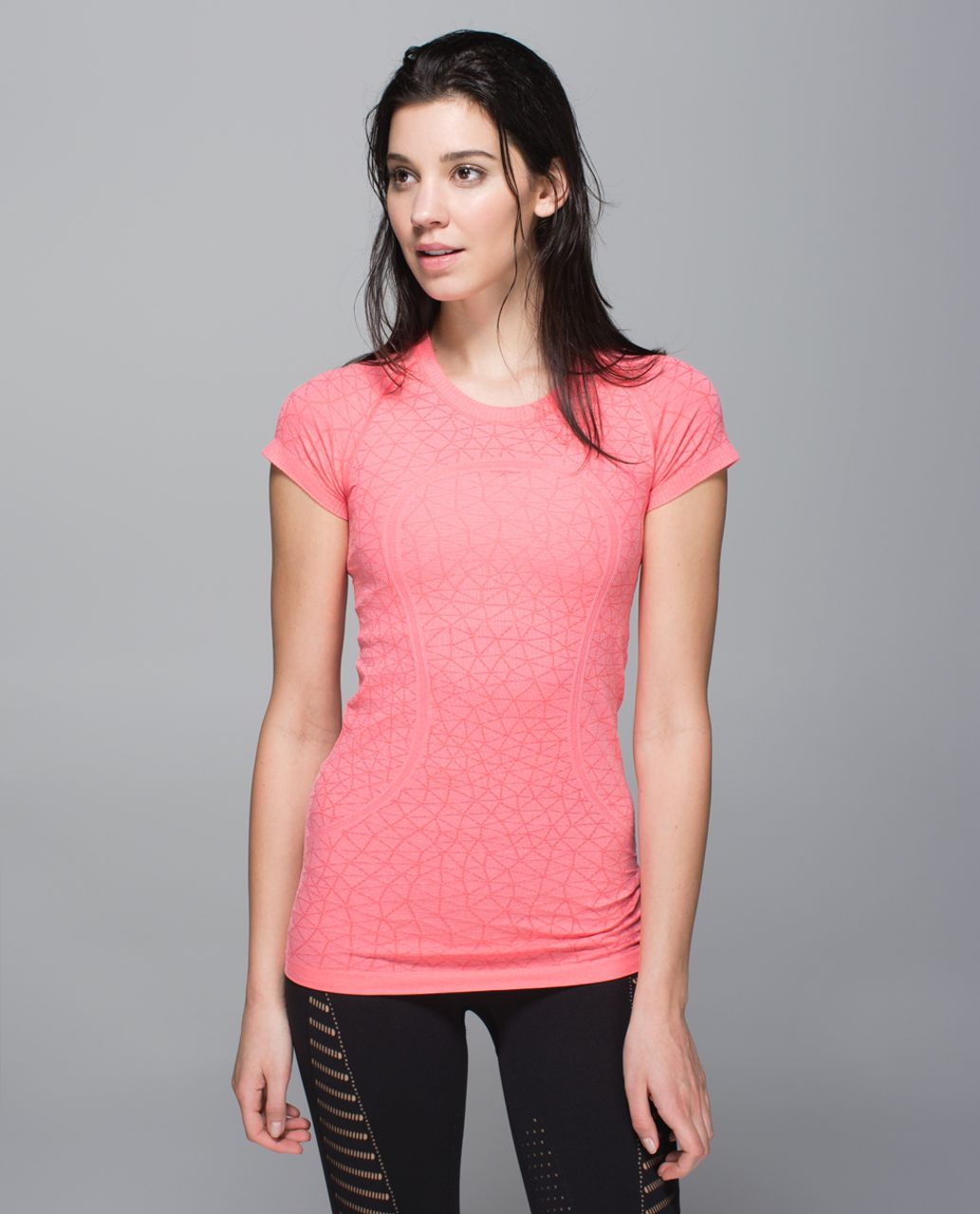 Lululemon Run:  Swiftly Tech Short Sleeve Crew - Heathered Electric Coral
