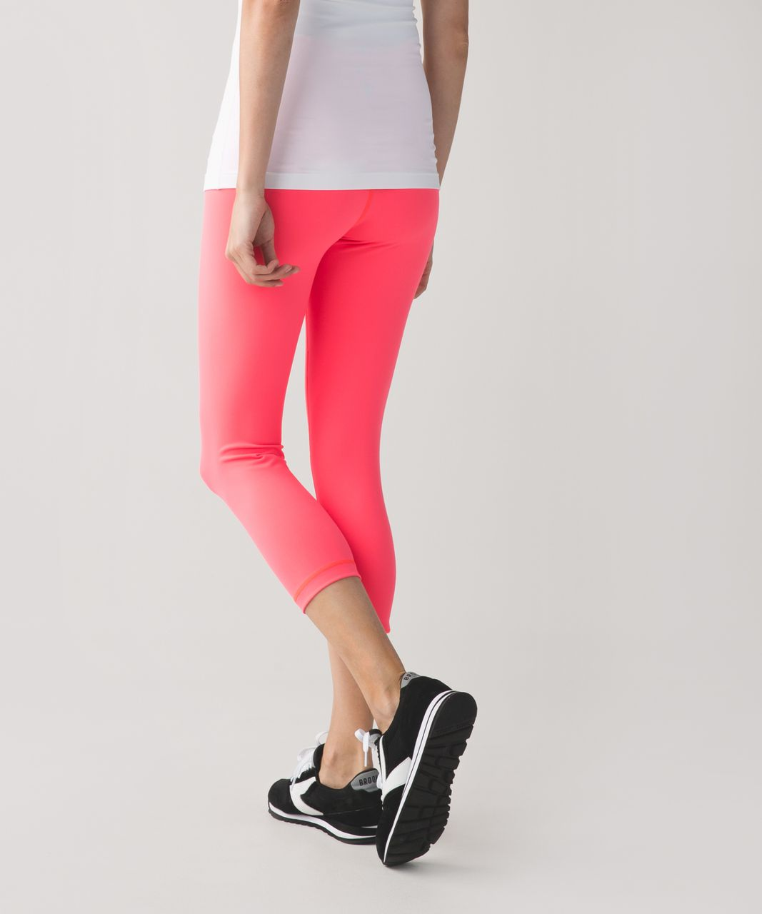 7f39722e5571ea Lululemon Wunder Under Crop II *Full-On Luon (Roll Down) - Electric Coral -  lulu fanatics