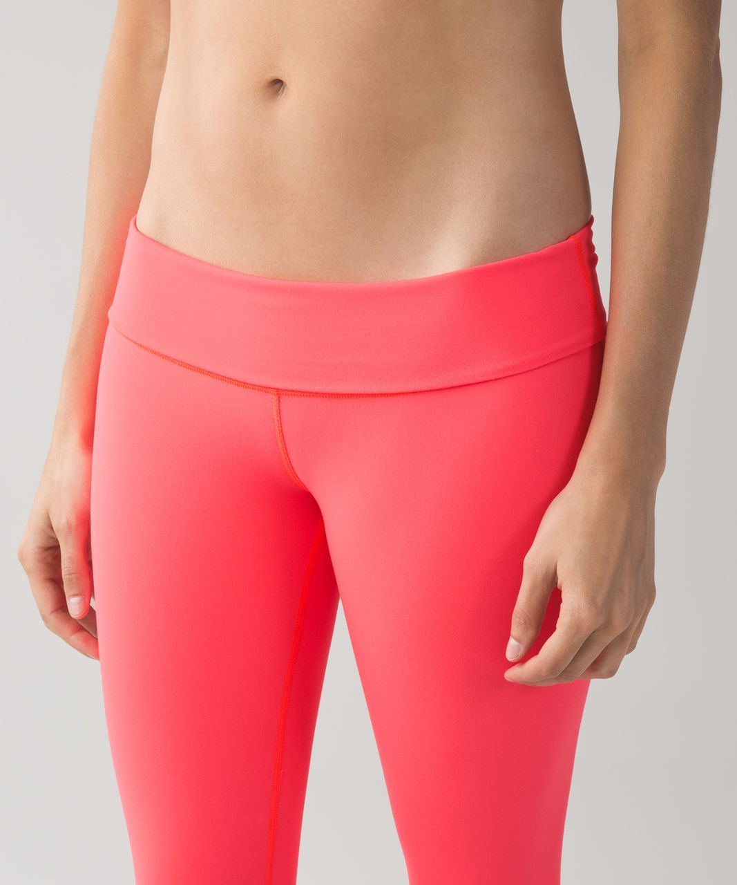 Lululemon Wunder Under Crop II *Full-On Luon (Roll Down) - Electric Coral